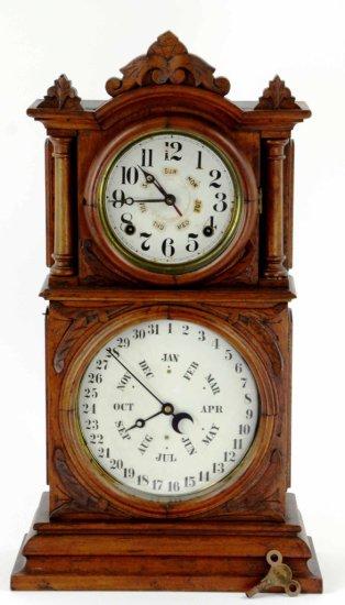 Antique BB Lewis Ingraham Double Faced Mantle Shelf Clock w/ Calendar