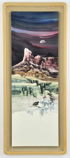 """Original Watercolor on Board by Listed Artist, Michael Atkinson, """"The Pinnacle"""""""