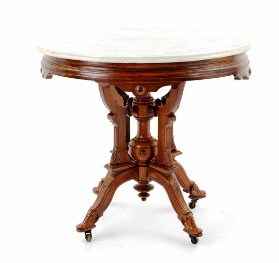 Antique Eastlake Beveled Marble Top Side Table w/ Original Metal Casters