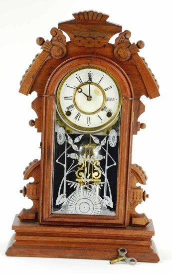 Antique Gingerbread Mantle Clock, Reverse Paint & Double Barrel Pendulum