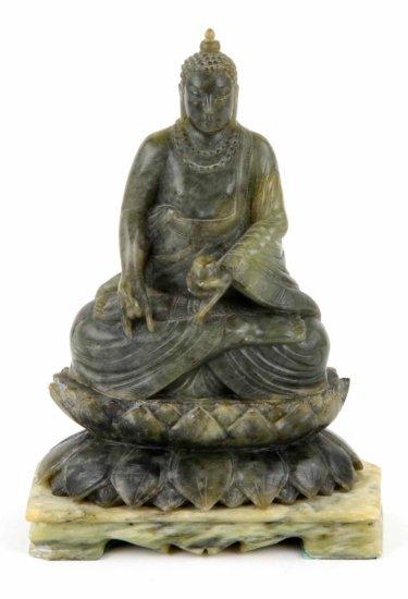 """Vintage Hand Carved Jade Hindu Buddha """"Universal Peace"""" Sculpture"""