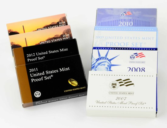 Collection of 8 United States Mint Proof Coin Sets from 2007-2014