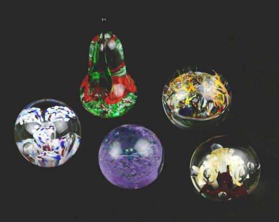 Collection of 5 Vintage Art Glass Paperweights – Gibson, Czech, Mosi, Mazerski, Zimmerman