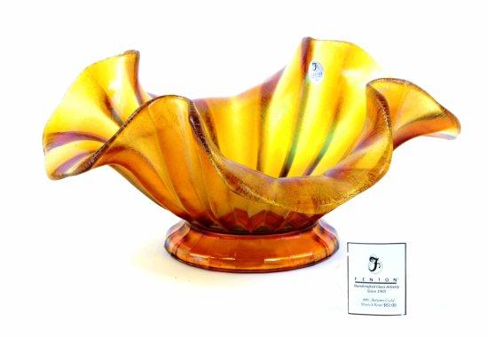 Fenton Art Glass Fluted Bowl, Iridescent Carnival Glass
