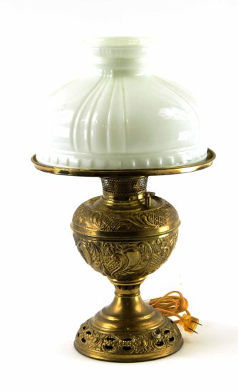 Antique Bradley & Hubbard Brass Victorian Lamp w/ Milk Glass Shade, Converted Electric