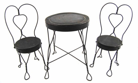 Vintage Wrought Iron Child's or Doll Ice Cream Parlor Set Table w/ Chairs