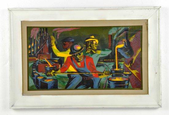 "Listed Artist, Harry Sternberg, Colorful Woodblock Print Litho ""Steel"""