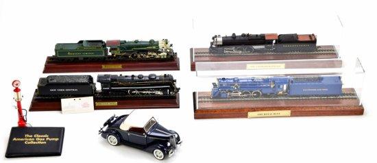 Lot of Model Trains, Car, & Gas Pump – Danbury Mint, Franklin Mint