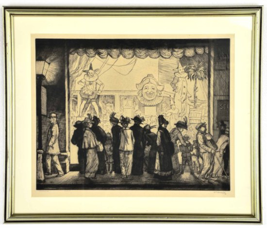 """William Strang, Listed Artist, Drypoint Etching """"Toy Window"""""""