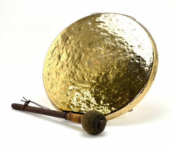 Vintage Malaysian / Oriental Brass Gong with Authentic Beater