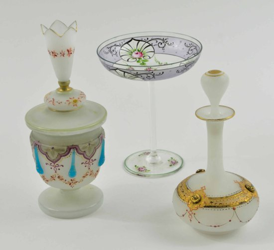 Vintage Collection of Hand Painted Satin Glass & Ornately Painted Pieces