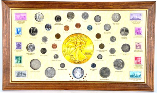 US Historic Society 19th & 20th C. Framed Coinage Stamp, Coin, and Silver Coin Collection #197