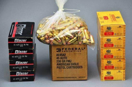 Bulk Ammo 700 Rounds of .45 Auto Federal, Blazer, & Herter's 230 Grain FMJ Bullets