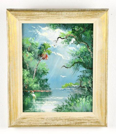 Original Oil on Board, by Listed Artist, Sam Newton, Original Highwaymen, Florida Landscape
