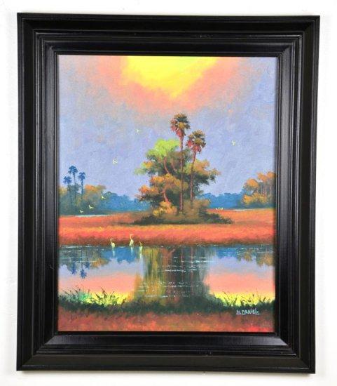 Oil on Board, by Listed Artist, Willie Daniels, Original Highwaymen, Florida Landscape
