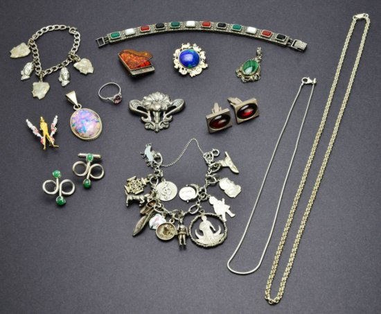Misc. Collection of Vintage Sterling Jewelry, Costume Jewelry, Opal, Amber and Other Treasures