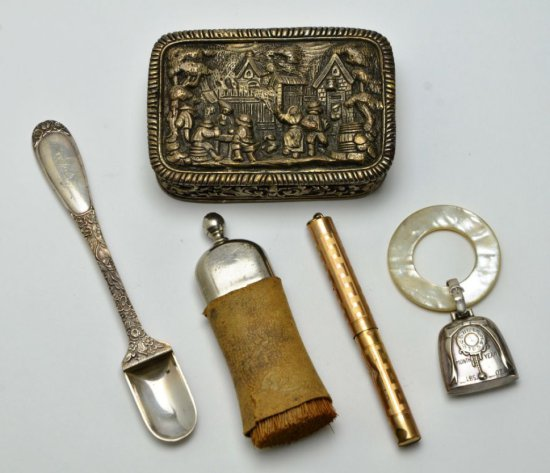 Collection of Miscellaneous Antique Trinkets Stieff Sterling, Sterling Teething Ring and More