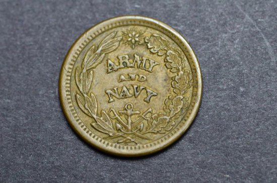 """1861-65 The Federal Union """"It Must and Shall be Preserved"""" Army & Navy Civil War Token"""