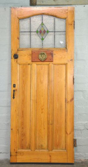 Vintage Wood Door with Stained Glass and Hardware