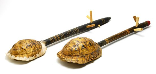 Antique Pair of Native American Primitive Turtle and Skin Wood Instruments