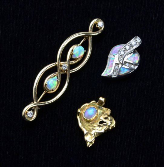 Collection of 14KT Y. Gold Stuller Opal / Diamond Pin, 14K Opal Pendant, and Sterling Opal Pendant