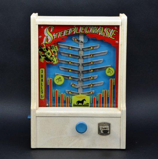 Vintage Irving Kaye Brooklyn New York Steeplechase 5 Cent Countertop Manual Skill Arcade Game