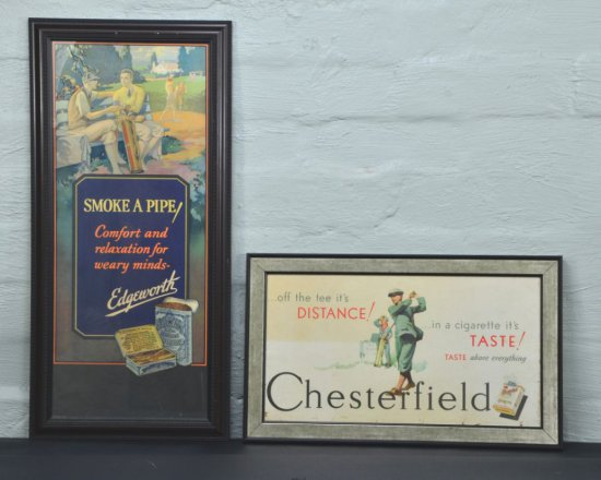 Two Vintage Advertising Posters, Smoking Tobacco Paper Signs, Chesterfield & Edgeworth