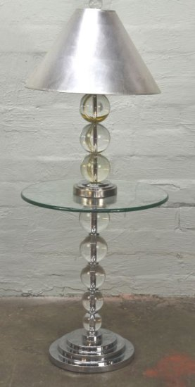Contemporary Modern Two-Piece Group: Glass Ball Lamp and Table