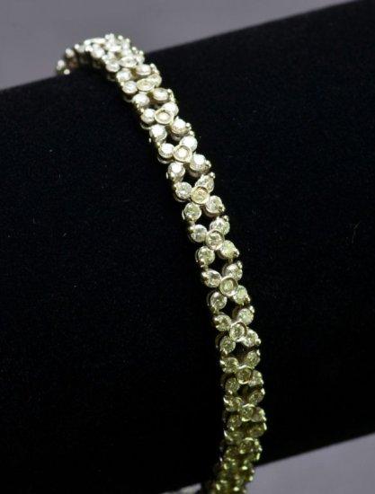 Stunning 3.93 Carat Diamond Ladies Tennis Bracelet in 18KT White Gold Decorative Modern Design