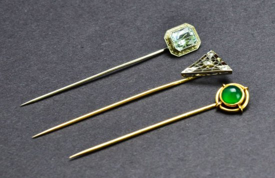 Collection of Three Ladies 10 & 14 KT Gold Stick Pins with Diamonds and Gemstones