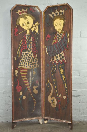 Pair of Antique King & Queen Painted Figural Wood Wall or Floor Panels
