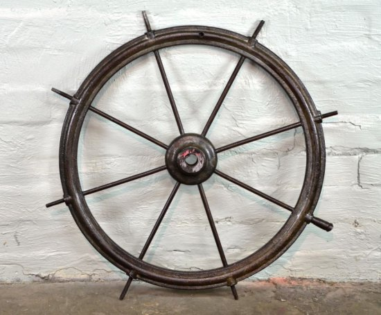 Original Antique Maritime Spoked Ships Wheel all Heavy Cast Metal