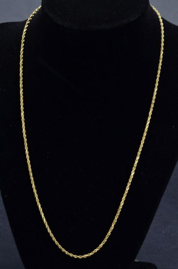 ITEM 112: SOLID 14kt. YELLOW GOLD ROPE NECKLACE
