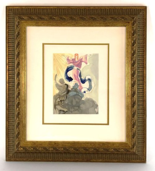 "Salvador Dali, 1963 Divine Comedy Paradise ""Piccarda Donati"" Wood Block Print"