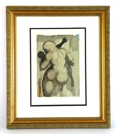 """Salvador Dali, 1963 Divine Comedy Purgatory """"The Neglectful Meets Violent Death"""" Wood Block Print"""