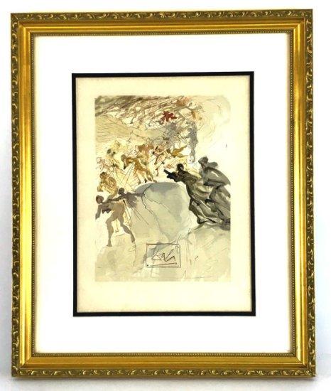 "Salvador Dali, 1963 Divine Comedy Purgatory ""The Lustful"" Wood Block Print"
