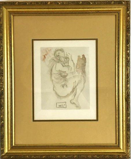 "Salvador Dali, 1963 Divine Comedy Purgatory ""The Siren of The Dream"" Wood Block Print"