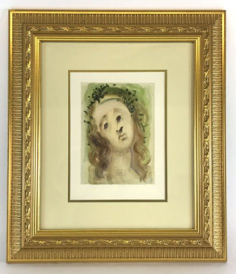 """Salvador Dali, 1963 Divine Comedy Purgatory """"Our Lady of Annunciation"""" Wood Block Print"""
