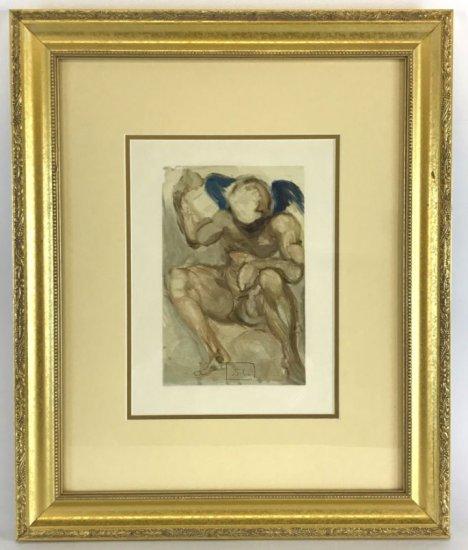 "Salvador Dali, 1963 Divine Comedy Purgatory ""The Angel of Mercy"" Wood Block Print"
