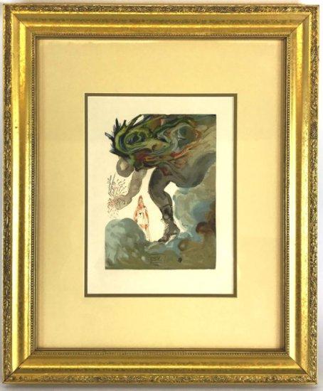 "Salvador Dali, 1963 Divine Comedy Inferno ""The Prophecy of Vanni Fucci"" Wood Block Print"