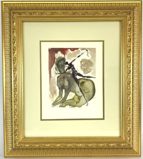 "Salvador Dali, 1963 Divine Comedy Inferno ""The Minotaur"" Wood Block Print"