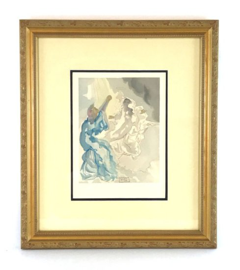 "Salvador Dali, 1963 Divine Comedy Paradise ""In The Heaven of Mercury"" Wood Block Print"