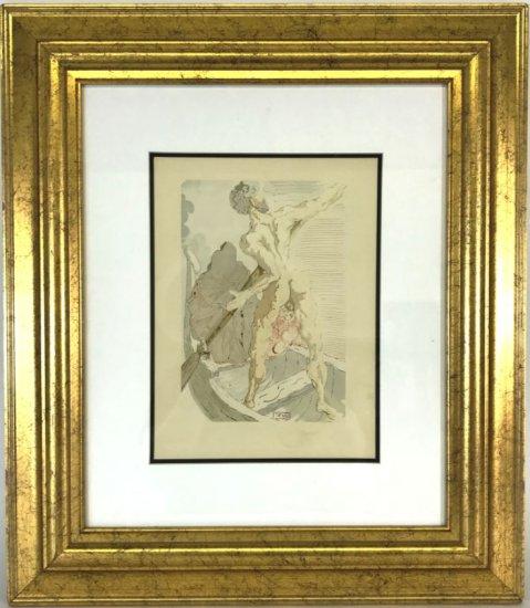 "Salvador Dali, 1963 Divine Comedy Inferno ""Charon"" Wood Block Print"