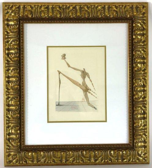 """Salvador Dali, 1963 Divine Comedy Inferno """"Bertram dal Bornio"""" Wood Block Print"""