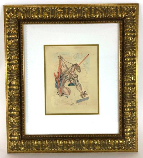 "Salvador Dali, 1963 Divine Comedy Inferno ""Mohammed"" Wood Block Print"