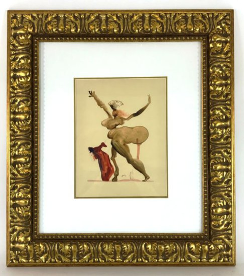 "Salvador Dali, 1963 Divine Comedy Inferno ""Manto"" Wood Block Print"