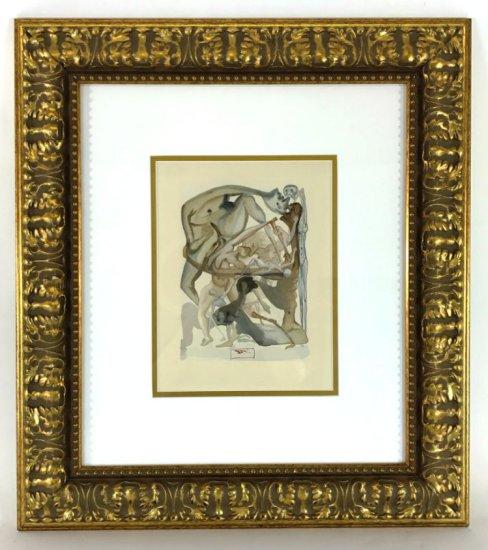 "Salvador Dali, 1963 Divine Comedy Inferno ""In Dark Limbo"" Wood Block Print"