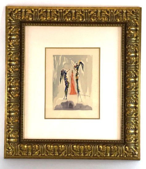 "Salvador Dali, 1963 Divine Comedy Paradise ""The Angels of Empyrean"" Wood Block Print"