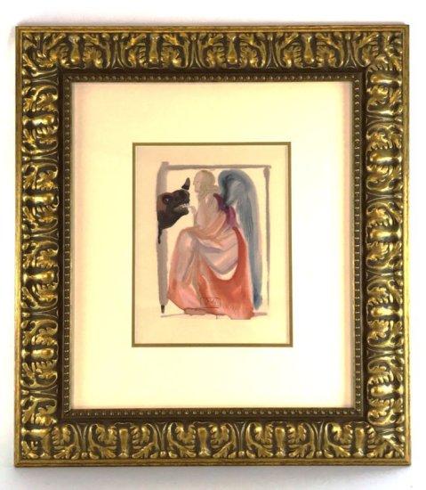 "Salvador Dali, 1963 Divine Comedy Paradise ""Church and Empire"" Wood Block Print"