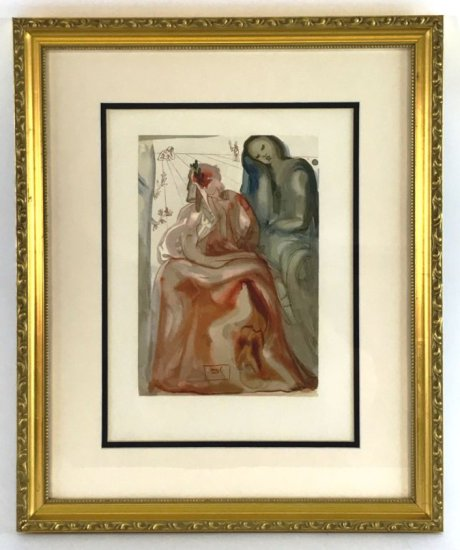 "Salvador Dali, 1963 Divine Comedy Purgatory ""Dante Re-Awakes"" Wood Block Print"
